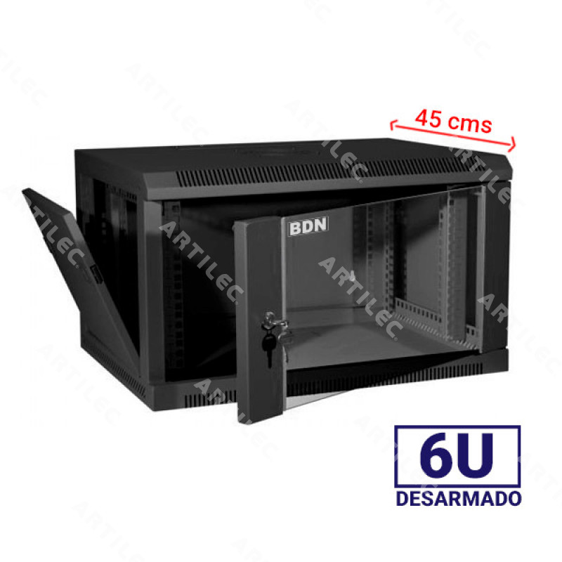 GABINETE RACK 6U BDN 45CM PARED NEGRO