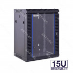 GABINETE RACK 15U PARED NEGRO 60CM