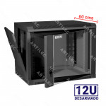 GABINETE RACK 12U BDN 60CM PARED NEGRO