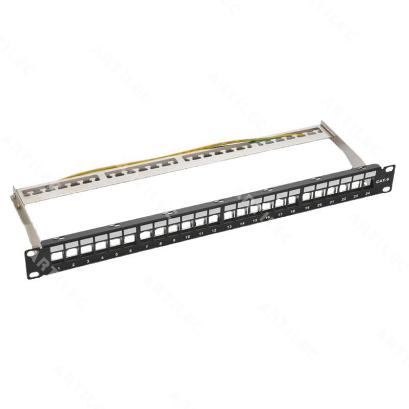 PATCH PANEL DESCARGADO BLINDADO BDN 24P 1U ETIQUETABLE