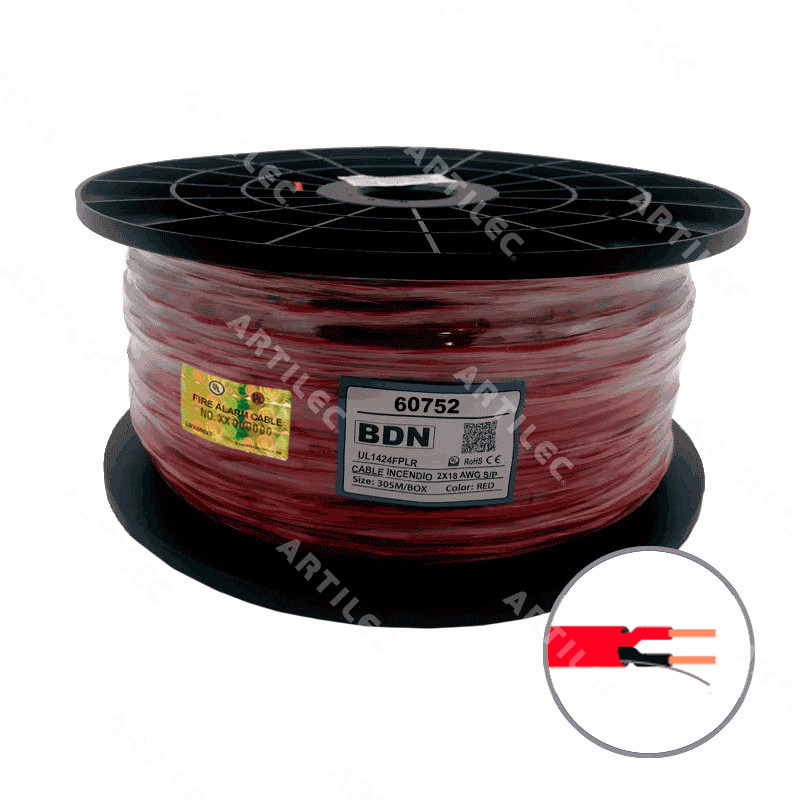 CABLE INCENDIO UL ROJO BDN 2X18 AWG S/P FPLR