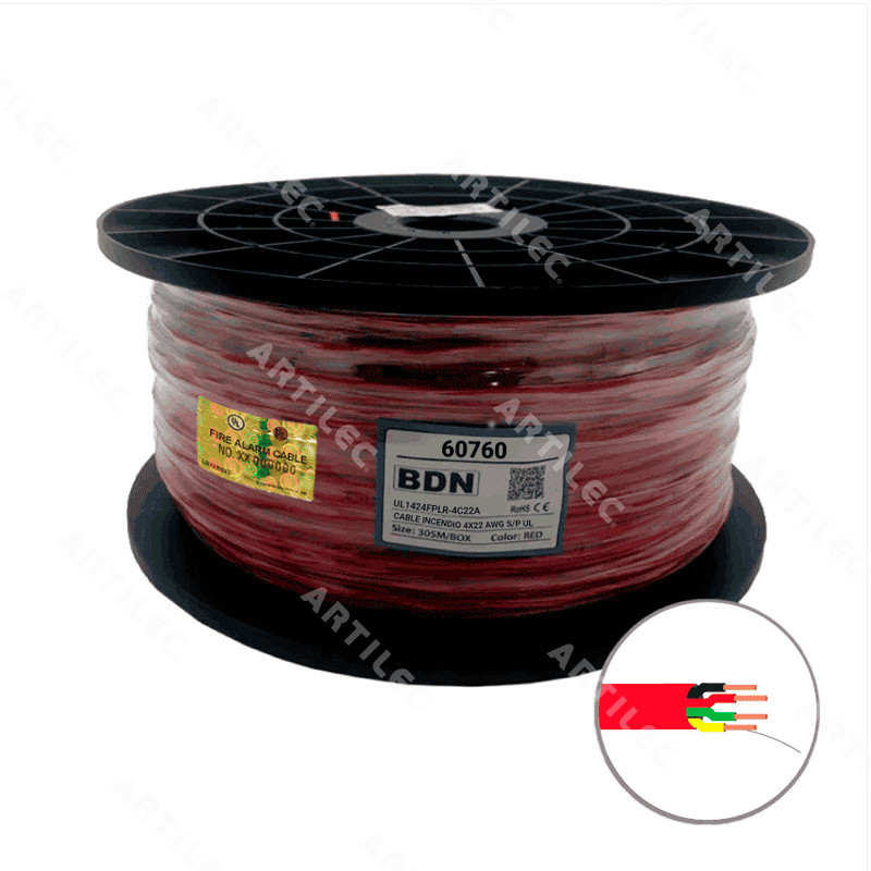 CABLE INCENDIO ROJO BDN 4X22 AWG S/P UL