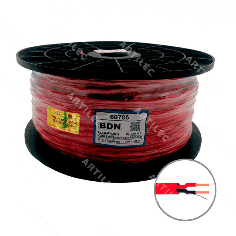 CABLE INCENDIO UL ROJO BDN 2X16 AWG S/P FPLR