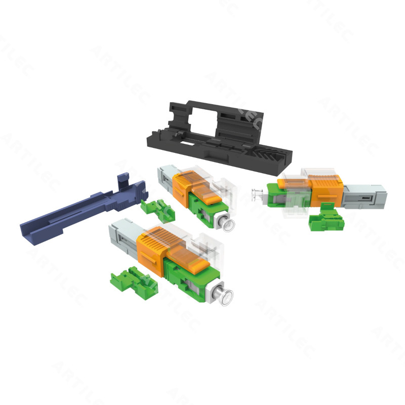 KIT CON 10 CONECTORES OPTICOS DE CAMPO SM SC-APC EZ!