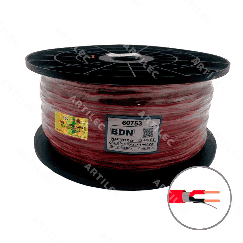 CABLE INCENDIO  ROJO BDN 2X18 AWG C/P