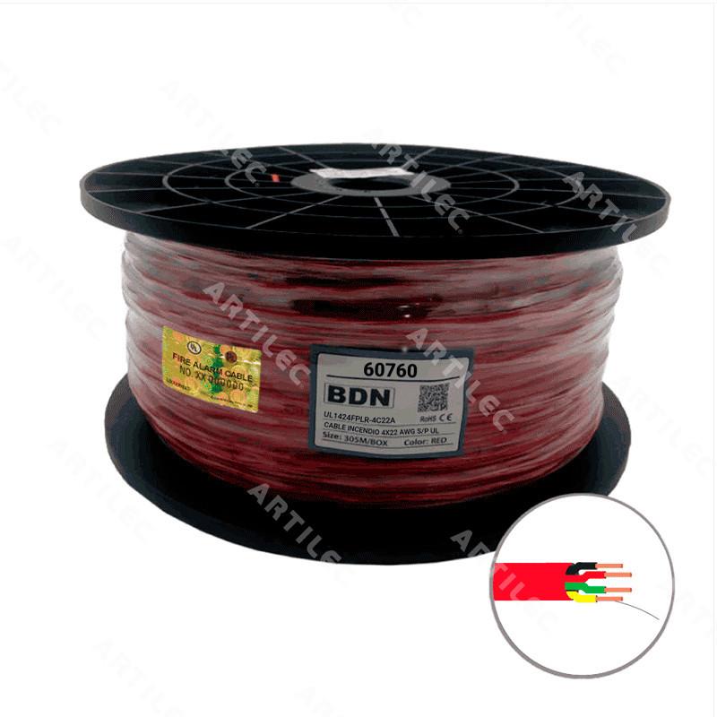 CABLE INCENDIO UL ROJO BDN 4X22 AWG S/P FPLR